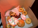 vegan dounuts, donuts with fruit loops and cap'n crunch, the choc. one is called the ODB